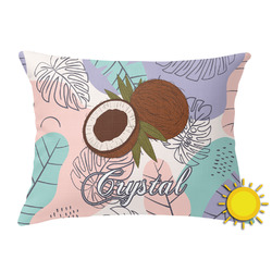 Coconut and Leaves Outdoor Throw Pillow (Rectangular) w/ Name or Text