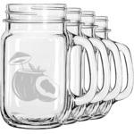 Coconut and Leaves Mason Jar Mugs (Set of 4) (Personalized)