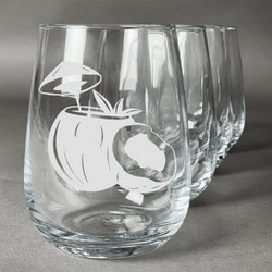 Coconut and Leaves Stemless Wine Glasses (Set of 4) (Personalized)