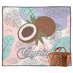 Coconut and Leaves Outdoor Picnic Blanket w/ Name or Text