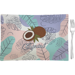 Coconut and Leaves Rectangular Glass Appetizer / Dessert Plate - Single or Set (Personalized)