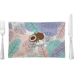 Coconut and Leaves Rectangular Glass Lunch / Dinner Plate - Single or Set (Personalized)