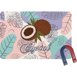 Coconut and Leaves Rectangular Fridge Magnet w/ Name or Text