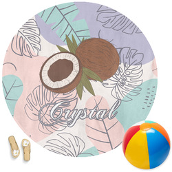 Coconut and Leaves Round Beach Towel (Personalized)