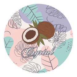 Coconut and Leaves Round Decal (Personalized)