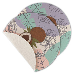 Coconut and Leaves Round Linen Placemat (Personalized)