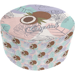 Coconut and Leaves Round Pouf Ottoman (Personalized)