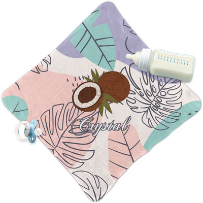 Coconut and Leaves Security Blanket w/ Name or Text