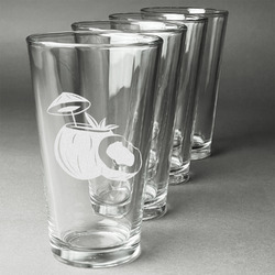 Coconut and Leaves Beer Glasses (Set of 4) (Personalized)