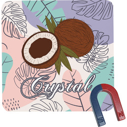Coconut and Leaves Square Fridge Magnet w/ Name or Text