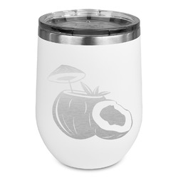 Coconut and Leaves Stemless Stainless Steel Wine Tumbler (Personalized)