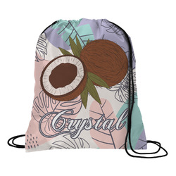 Coconut and Leaves Drawstring Backpack (Personalized)