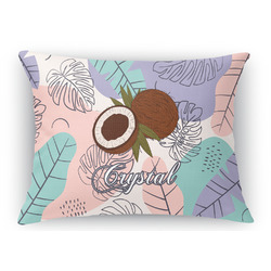 Coconut and Leaves Rectangular Throw Pillow Case (Personalized)