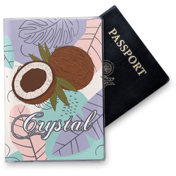 Coconut and Leaves Vinyl Passport Holder w/ Name or Text