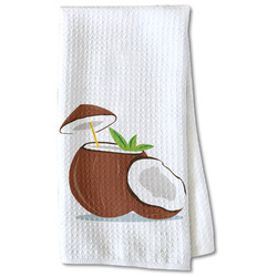 Coconut and Leaves Waffle Weave Kitchen Towel - Partial Print (Personalized)