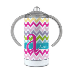 Colorful Chevron 12 oz Stainless Steel Sippy Cup (Personalized)