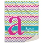 Colorful Chevron Sherpa Throw Blanket (Personalized)