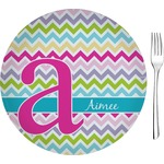 "Colorful Chevron Glass Appetizer / Dessert Plates 8"" - Single or Set (Personalized)"