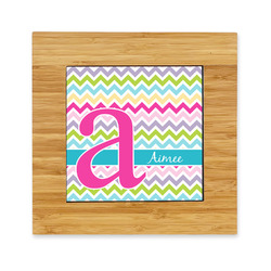 Colorful Chevron Bamboo Trivet with Ceramic Tile Insert (Personalized)