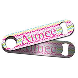 Colorful Chevron Bar Bottle Opener w/ Name and Initial