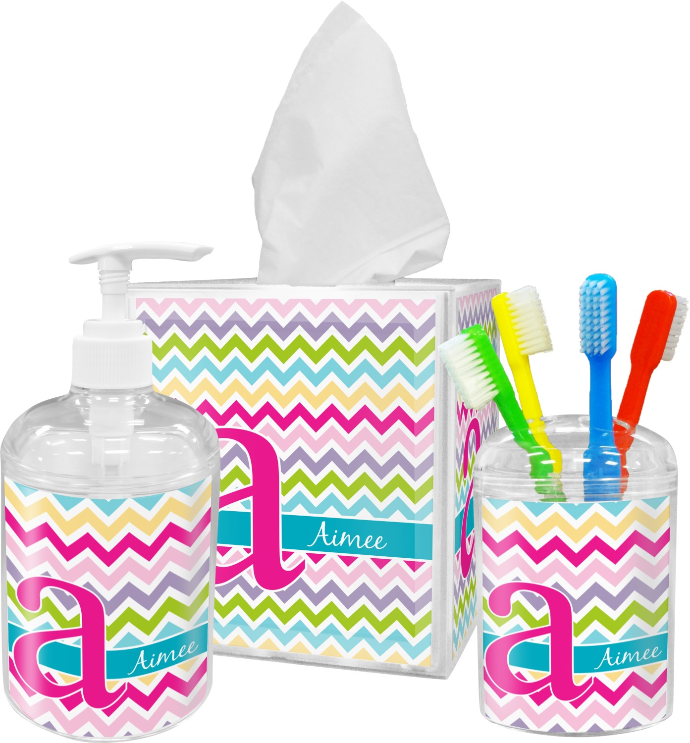 Colorful chevron toothbrush holder personalized for Colourful bathroom accessories