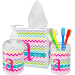 Colorful Chevron Acrylic Bathroom Accessories Set w/ Name and Initial