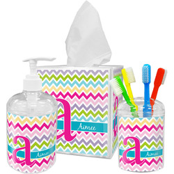 Colorful Chevron Bathroom Accessories Set (Personalized)