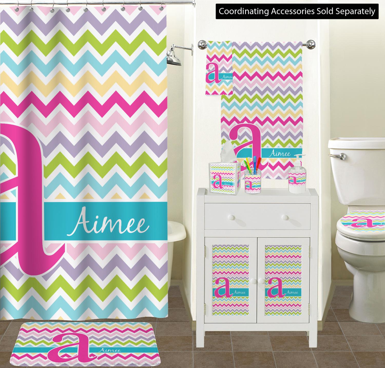 ... Colorful Chevron Bathroom Scene Custom Bathroom Decor ...