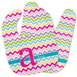 Colorful Chevron Baby Bib w/ Name and Initial