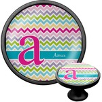 Colorful Chevron Cabinet Knob (Black) (Personalized)