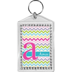 Colorful Chevron Bling Keychain (Personalized)