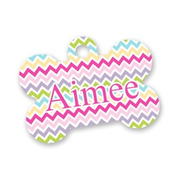 Colorful Chevron Bone Shaped Dog Tag (Personalized)