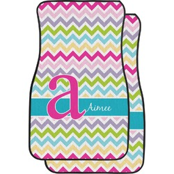 Colorful Chevron Car Floor Mats (Front Seat) (Personalized)