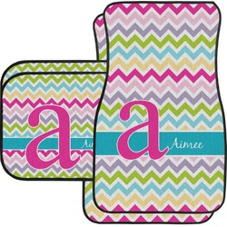 Colorful Chevron Car Floor Mats Set - 2 Front & 2 Back (Personalized)