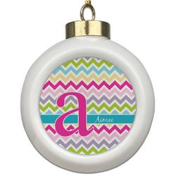 Colorful Chevron Ceramic Ball Ornament (Personalized)