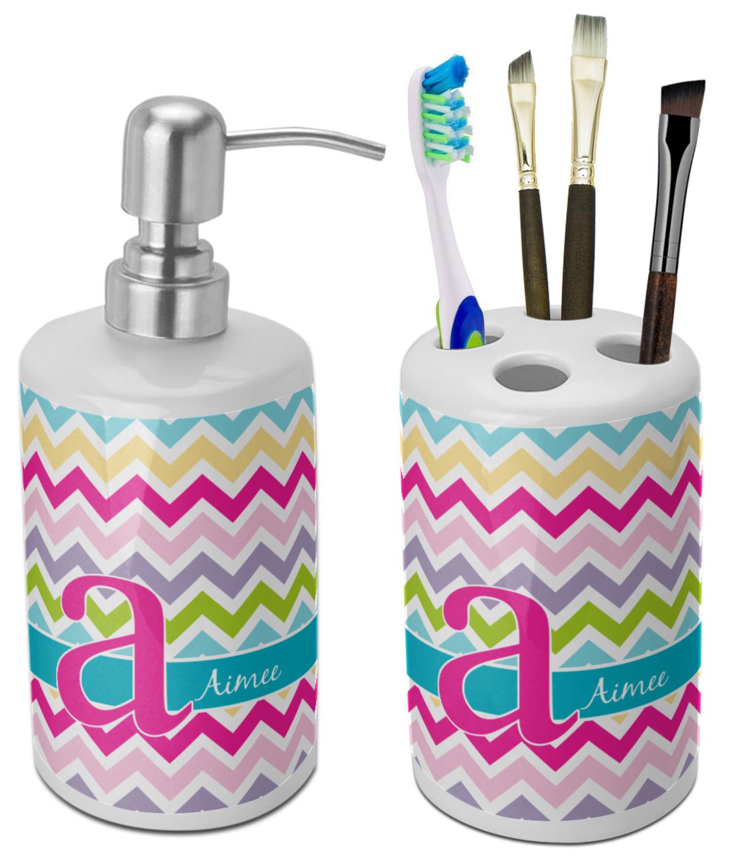 Colorful bathroom accessories