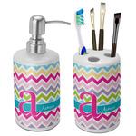 Colorful Chevron Ceramic Bathroom Accessories Set (Personalized)