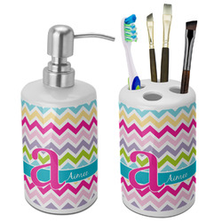 Colorful Chevron Bathroom Accessories Set (Ceramic) (Personalized)