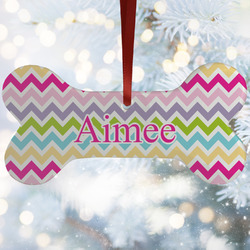 Colorful Chevron Ceramic Dog Ornaments w/ Name and Initial
