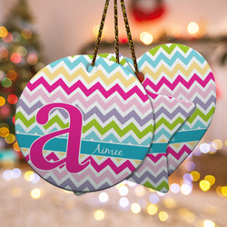 Colorful Chevron Ceramic Ornament w/ Name and Initial