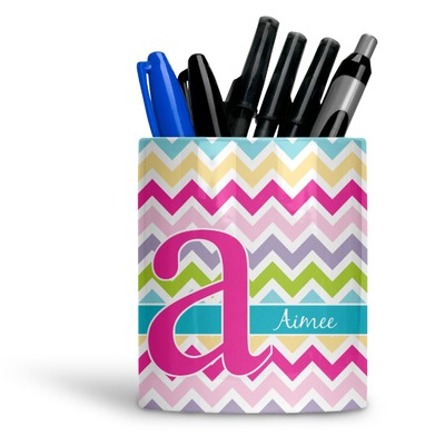 Colorful Chevron Ceramic Pen Holder