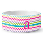 Colorful Chevron Ceramic Pet Bowl (Personalized)