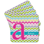 Colorful Chevron Cork Coaster - Set of 4 w/ Name and Initial