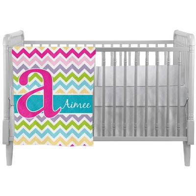 Colorful Chevron Crib Comforter / Quilt (Personalized)
