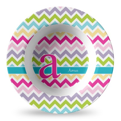 Colorful Chevron Plastic Bowl - Microwave Safe - Composite Polymer (Personalized)
