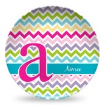 Colorful Chevron Microwave Safe Plastic Plate - Composite Polymer (Personalized)