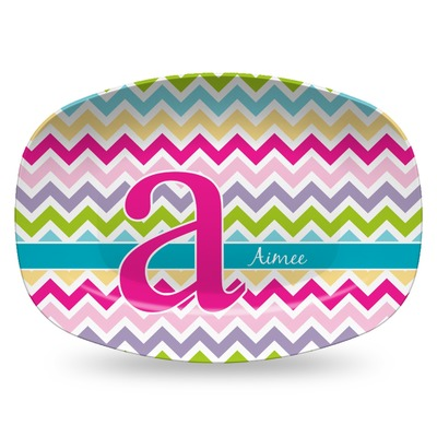 Colorful Chevron Plastic Platter - Microwave & Oven Safe Composite Polymer (Personalized)