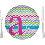 "Colorful Chevron Glass Lunch / Dinner Plates 10"" - Single or Set (Personalized)"