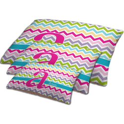 Colorful Chevron Dog Bed w/ Name and Initial