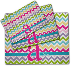 Colorful Chevron Dog Food Mat w/ Name and Initial